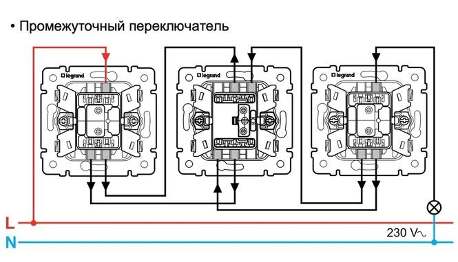 Как подключить (схема подключения) перекрестный переключатель Legrand 774407
